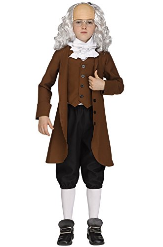 Fun World Big Boy's Ben Franklin American President Costume Childrens Costume, Multi, Large -