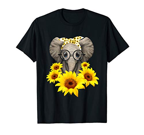 - Elephant Sunflower Cute Elephant Love Sunflower T-Shirt