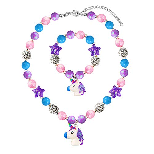 SkyWiseWin Chunky Bubblegum Unicorn Necklace Bracelet Set Little Girls Jewelry]()