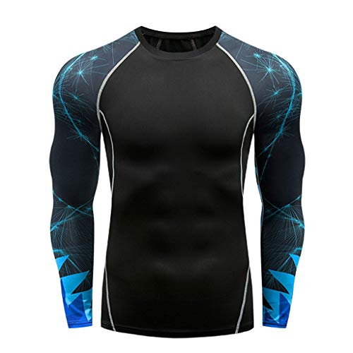 JJLIKER Men's Print Athletic Compression Sport Running Long Sleeve T Shirt Cool Dry Baselayer Yoga Fitness Workout Tops