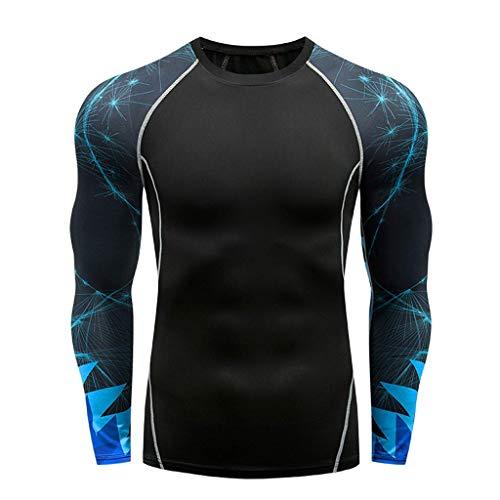 (Men Compression Shirt Base Layer Long Sleeve Undershirt for Men Sport Fitness Cool Dry (XL, Black 3))