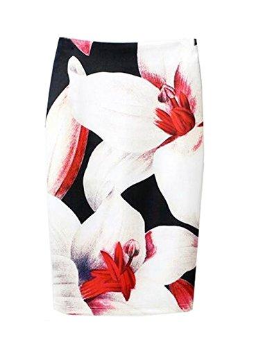 Haililais Slim Haute Fit Tendance Imprimer White4 Taille ElGant Jupe Jupe Jupe Vintage Skirt Floral Femelle Au Jupe Genou Femme Fendue rwIxT1cqBr