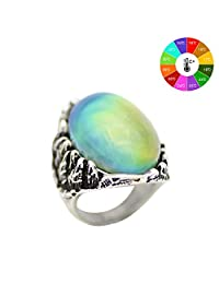 MOJO JEWELRY Burning Fire Pattern Antique Sterling Silver Plating Oval Stone Color Change Mood Ring MJ-RS057