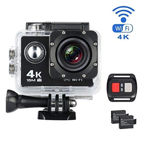 YOMYM Cámara de la acción de los Deportes de 4K WiFi Videocámara de la Prenda Impermeable de HD DV de 16MP 170 Grados de...