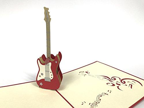 Chitarra elettrica pop-up di note musicali biglietto d auguri