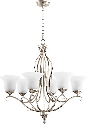 Quorum Lighting 6272-6-60, Flora Glass 1 Tier Lighting, 6LT, Aged Silver Leaf w/White Linen