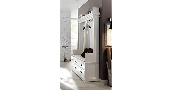 Albion - Mueble para recibidor (madera de caoba, con colgadores para abrigos, con cojín), color blanco: Amazon.es: Hogar