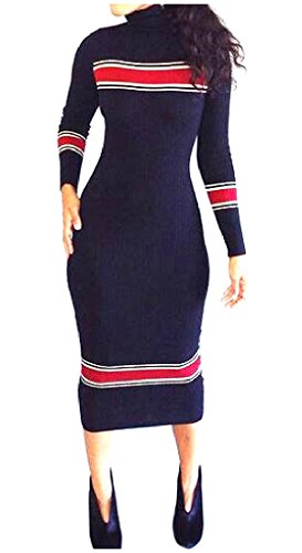 Autumn Comfy Women's Highneck Dress Knitting Sexy As2 Maxi Slim Fit Striped tpXn4px