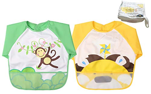 Momloves Infant Toddler Baby Waterproof Sleeved Bib, Set of 2, FREE BABY TOWELS (6-24 Months) (yellow + green Monkey)