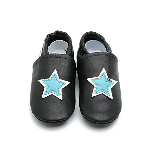 Liyas Hausschuhe Lederpuschen mit Teilgummisohle - #696 Stern in dunkelblau Schwarz