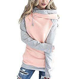 Aitos Womens Hoodies Long Sleeve Jumper Colorblock High Neck Sweatshirt Pullover Sweater Coat Pocket