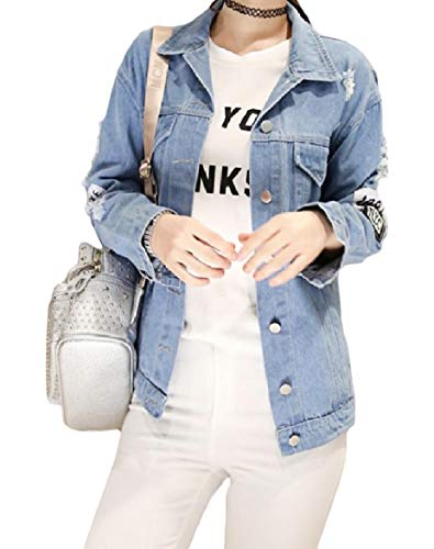 XINHEO Women's Splicing Ripped Destroyed Thin Turn-Down Collar Print Denim Jacket Light Blue