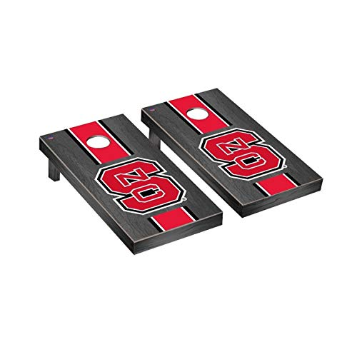 NORTH CAROLINA NC STATE WOLFPACK CORNHOLE GAME SET ONYX STAINED STRIPE WOODEN