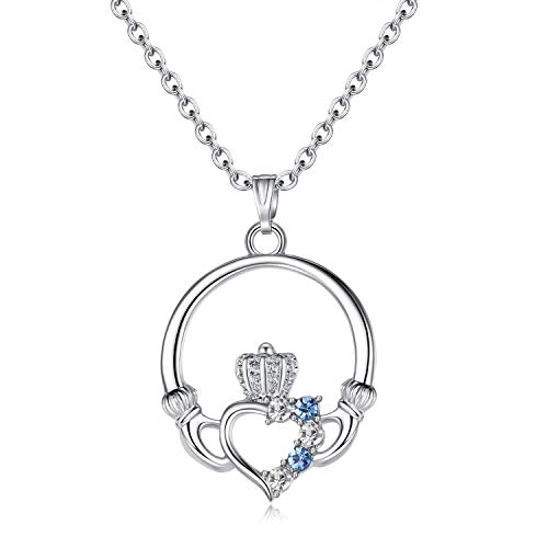 EVBEA Claddagh Heart Pendant Charm Birthstone Necklaces for Women (Blue)