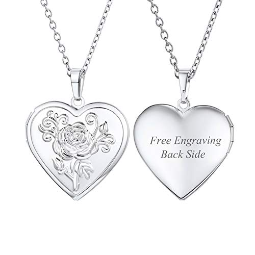 Engraved Locket Necklace - U7 Platinum Plated Heart Shaped Photo Locket Pendant Women Fashion Jewelry Customized Necklace