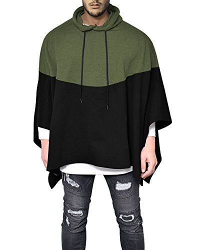 Demetory Men's Color Block Oversized Batwing Sleeves Hooded Poncho Cape Green XXX-Large ()