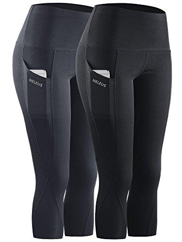 Neleus 2 Pack Tummy Control High Waist Workout Yoga Capri Leggings,9027,Black,Grey,L,EU XL ()
