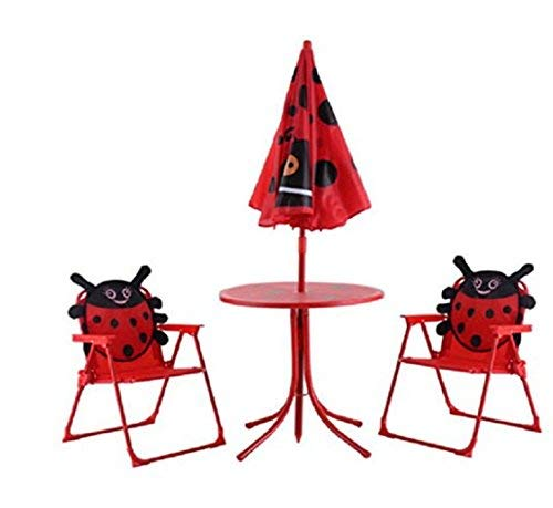 USA Premium Store Kid Patio Set Table With 2 Folding Chairs w/ Umbrella Beetle Outdoor Garden Yard