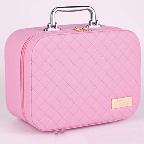 化粧品収納ボックス 携帯用化粧品の収納箱の大きい容量のスーツケースの革ボディサイズのサイズのピンクの黒 XLSM (Color : Pink, Size : M)