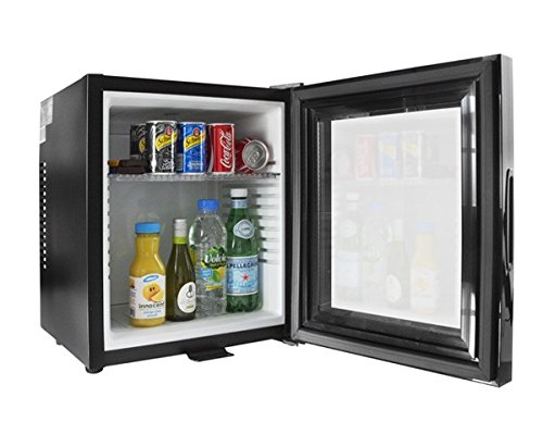 iceQ 24 Litre Deluxe Glass Door Black Mini Bar Fridge For Hotels, Bedrooms [Energy Class A]