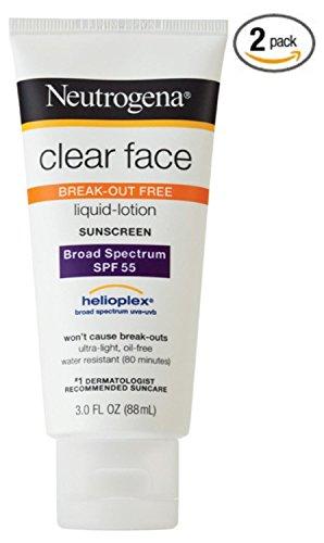 Neutrogena Effacer Visage Break Out Liquid gratuit Lotion écran solaire FPS 55 à 3 oz (pack de 2)