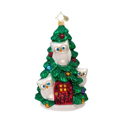 RADKO TREE FOR THREE Owl Bird Christmas Glass Ornament