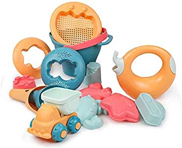 Beiens Premium Quality Kids Beach Toys, 14 Pieces Sand Toys Set in Reusable Mesh Bag with Pail, Truck, Watering Elephant and Other Tools Kit Matching