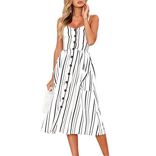 las de espagueti de el la del de verano abotona del vestido mujeres correa Midi Vestido oscilaci bohemio de floral 5RfqHgw