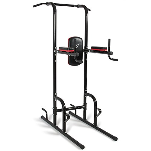 Akonza Power Tower, Multi Station Workout Pull-Up, Push-Up, Dip Station, Knee Raise with Cushion Pad, Black by Akonza