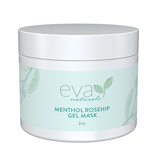Oil Controlling Daily Moisturizer (Menthol Rosehip Gel Mask by Eva Naturals - Peppermint Oil, Vitamin C - Organic Skin Care - Best Facial Mask Moisturizer - Pore Minimizer - Prevents Wrinkles & Fine)