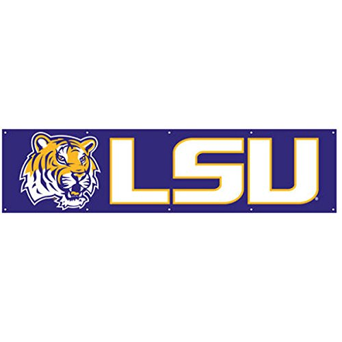 Party Animal Sports Fan NCAA Team LSU Tigers Giant 8' x 2' - 8' Nylon Banner Giant