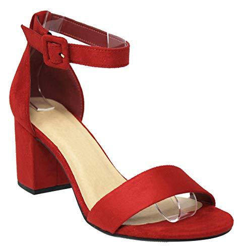 Br Block - MVE Shoes Women's Open Toe Single Band Buckle Ankle Strap Chunky Low Mid Block Heel Sandal, Cake br-rd IMSU 8
