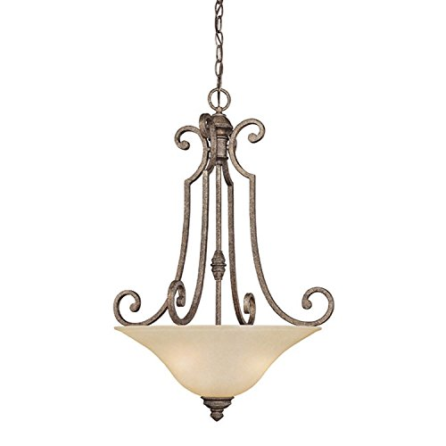Stone Bowl Pendant (A Ray Of Light 3584 3 Light Chandelier with Frosted Glass Bowl Shaped Pendant, Designer Creek Stone Finish)