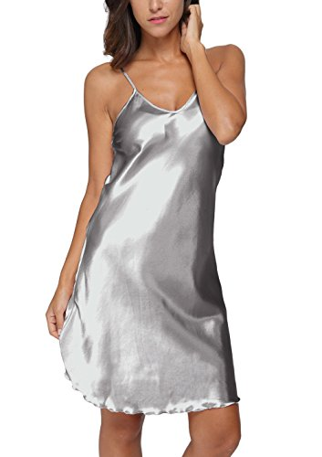 Original Kimono Women's Satin Spaghetti Strap Nightdress Nightgown Babydoll Silver 3XL