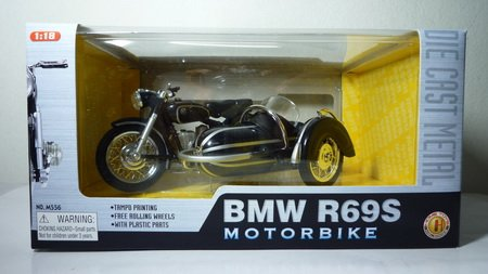 1:18 Metal Model Black Motorcycle BMW R96S Pattern, Motorbike Model