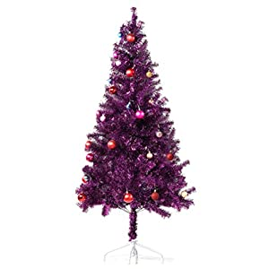 Wellwood Tinsel Christmas Tree with 24ct Assorted Ornament Set, Metal Stand, Easy Assembly 13
