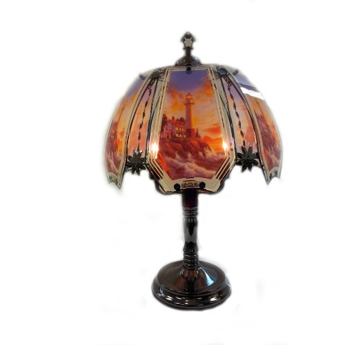ORE International K308 Glass Winter Lighthouse Scene Touch Lamp, Black Chrome ()