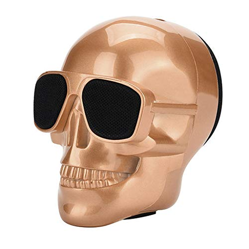 Lyperkin Halloween Wireless Bluetooth Speaker, Outdoor Portable Stereo Plating Skull Speaker with HD Audio and Enhanced Bass, Built-InDriver Speakerphone,Bluetooth 3.0,for Home,Outdoors,Travel,Party