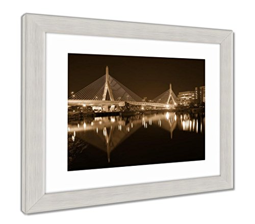 Ashley Framed Prints Boston Zakim Bridge Sunset in Bunker Hill Massachusetts USA, Wall Art Home Decoration, Sepia, 30x35 (Frame Size), Silver Frame, AG5444125