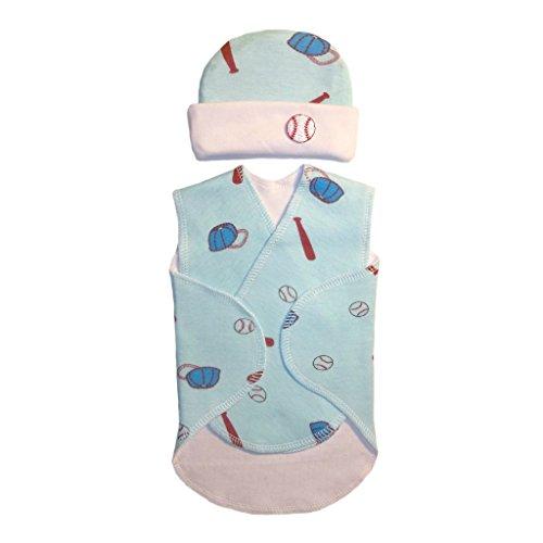 Jacqui's Baby Boys' Blue Baseball Snuggler Wrap Set, Preemie ()