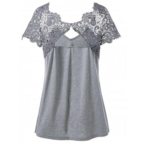 Tops V shirts Grijs Crop Elegant Size hals mouw Cutwork Top Plus V Dames Mode shirt T Plus Kant korte T Ohq hals maat xBnAUqw