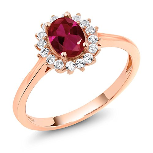 Red Gold Sapphire Ring - Gem Stone King 10K Rose Gold Red Created Ruby and White Created Sapphire Women's Ring (1.14 Cttw Oval Available in size 5, 6, 7, 8, 9)