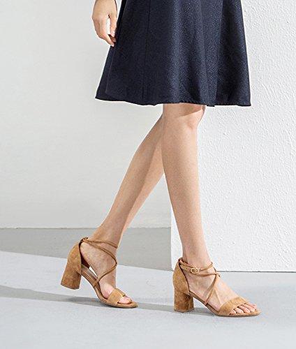 donna basso alti piatti a Sandali 37 Nero DHG alla estivi basso Tacchi tacco moda da casual Sandali Pantofole Sandali con tacco qqaUx8wI