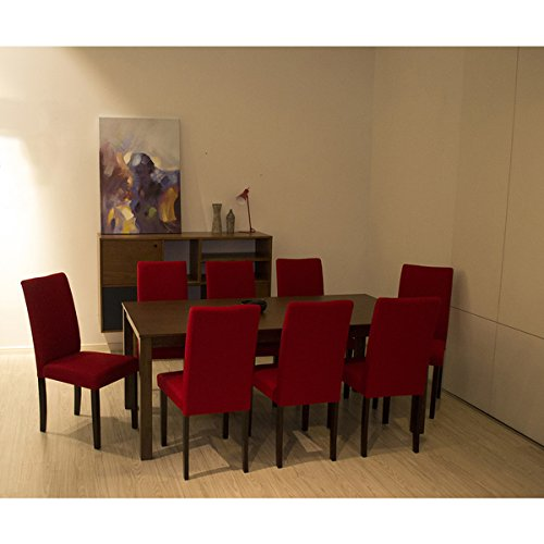 Warehouse of Tiffany Shino Crimson 9-piece Dining Set, Made of Wood, Cappuccino Finish