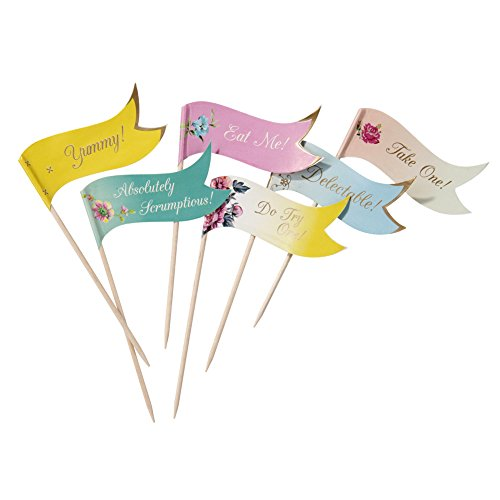 Talking Tables Tea Party Canape Pick Flags or Cupcake Decorations | Truly Scrumptious | Also Great For Birthday Party, Baby Shower and Wedding | Paper, 24 Pack