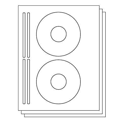 OfficeSmartLabels DISC CD DVD Labels with Spine Labels for Laser & Inkjet Printers, 2 per sheet, White, Matte, 200 Labels, 100 sheets