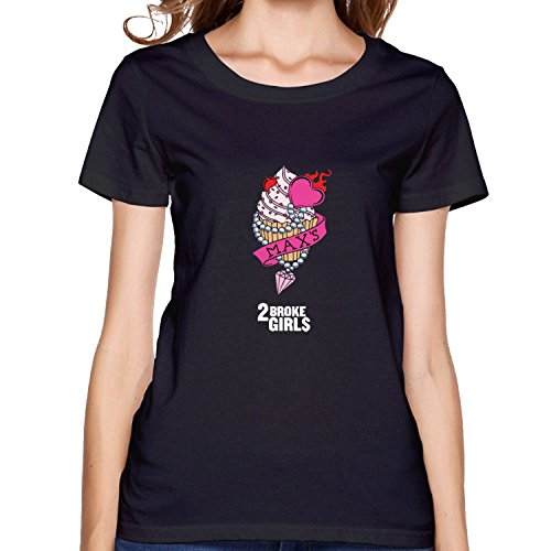 Women's 2 Broke Girls Max's Cupcakes T-shirt Black