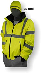 Majestic Glove 75-1300 PU Coated Polyester High Visibility Bomber Jacket with Fix Quilted Liner, 2X-Large, Yellow