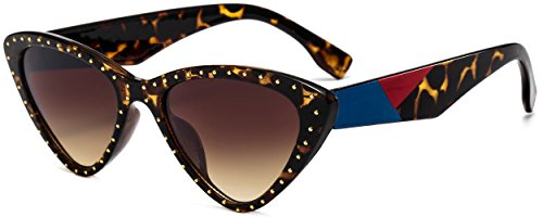 Vintage Cat Eye Hip Hop Fashion Mod Design Sharp Corner Rhinestone Sunglasses for Women(leopard print frame-brown lens)