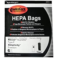 72 Riccar HEPA Type F Vacuum Bags, Simplicity, Freedom, Supralite, Canister Vacuum Cleaners, RSLH-6, SF-6, RSL1, RSL1A, RSL1AC, RSL3C, RSL2, RSL3, RSL4, RSL5, RSL5C, SLPLUS, RFH-6, F3500